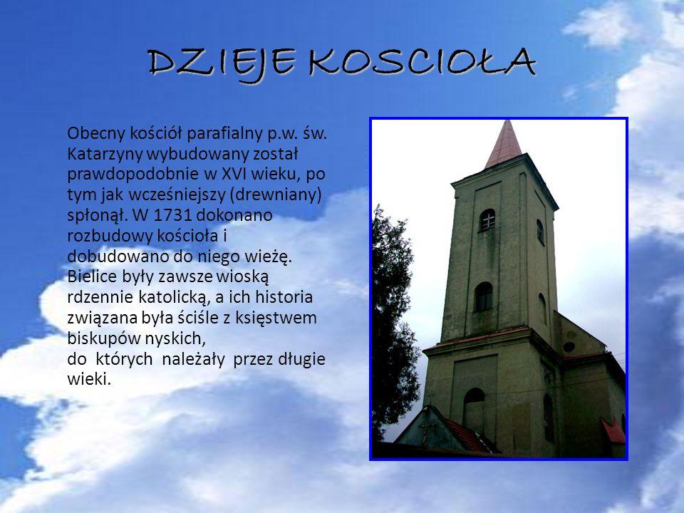 DZIEJE KOSCIOŁA Obecny kościół parafialny p.w. św. Katarzyny wybudowany został prawdopodobnie w XVI wieku, po tym jak wcześniejszy (drewniany) spłonął