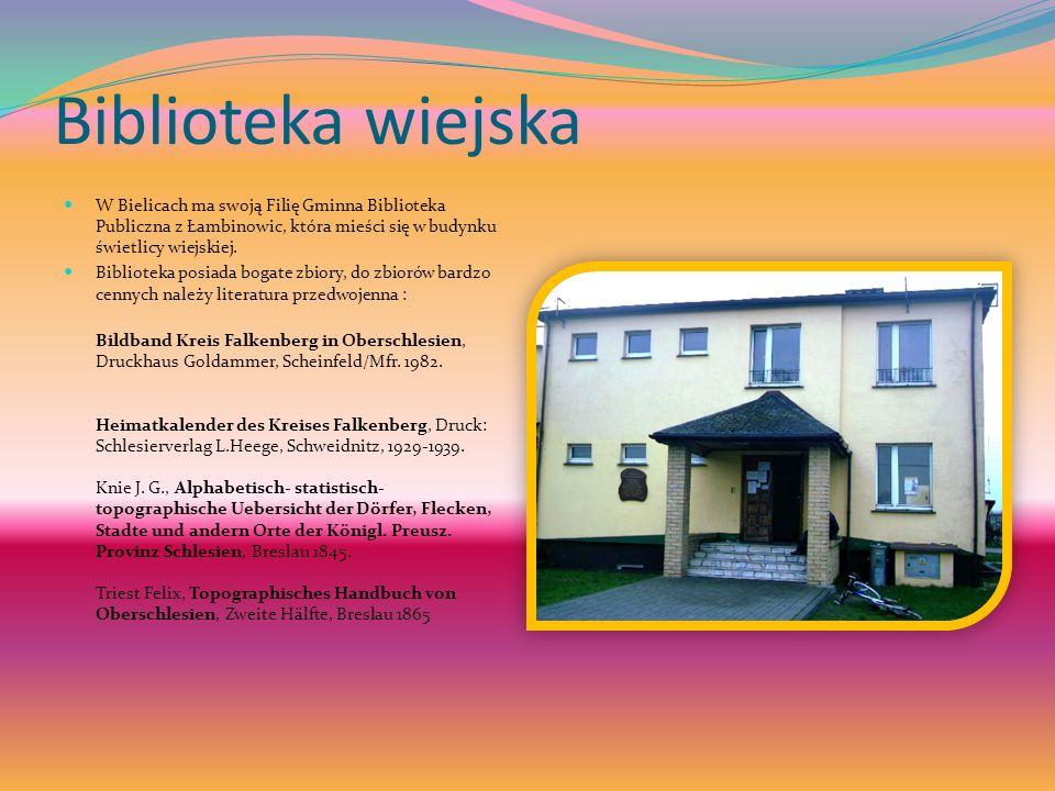 Biblioteka wiejska W Bielicach ma swoją Filię Gminna Biblioteka Publiczna z Łambinowic, która mieści się w budynku świetlicy wiejskiej. Biblioteka pos