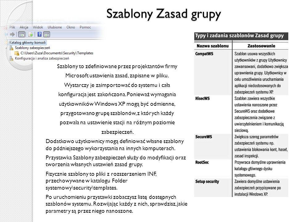 Szablony Zasad grupy Szablony to zdefiniowane przez projektantów firmy Microsoft ustawienia zasad, zapisane w pliku.