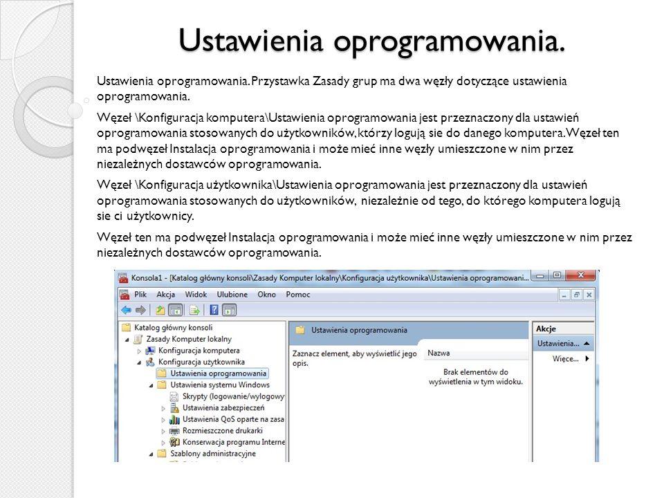Ustawienia oprogramowania.Ustawienia oprogramowania.