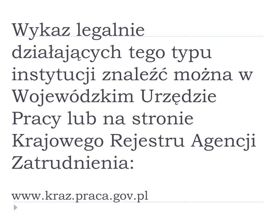 Wykaz legalnie działających tego typu instytucji znaleźć można w Wojewódzkim Urzędzie Pracy lub na stronie Krajowego Rejestru Agencji Zatrudnienia: www.kraz.praca.gov.pl