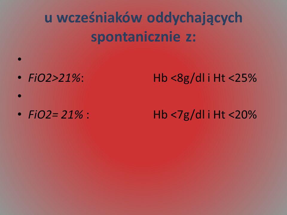 u wcześniaków oddychających spontanicznie z: FiO2>21%: Hb <8g/dl i Ht <25% FiO2= 21% : Hb <7g/dl i Ht <20%
