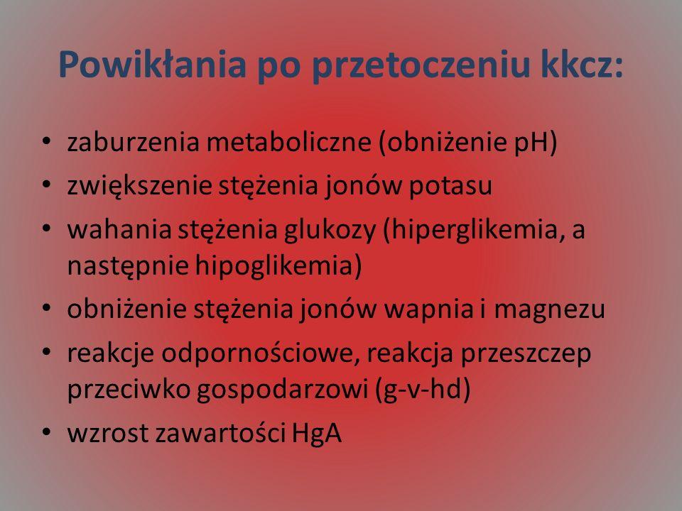 Powikłania po przetoczeniu kkcz: zaburzenia metaboliczne (obniżenie pH) zwiększenie stężenia jonów potasu wahania stężenia glukozy (hiperglikemia, a następnie hipoglikemia) obniżenie stężenia jonów wapnia i magnezu reakcje odpornościowe, reakcja przeszczep przeciwko gospodarzowi (g-v-hd) wzrost zawartości HgA