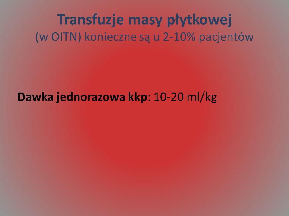 Transfuzje masy płytkowej (w OITN) konieczne są u 2-10% pacjentów Dawka jednorazowa kkp: 10-20 ml/kg
