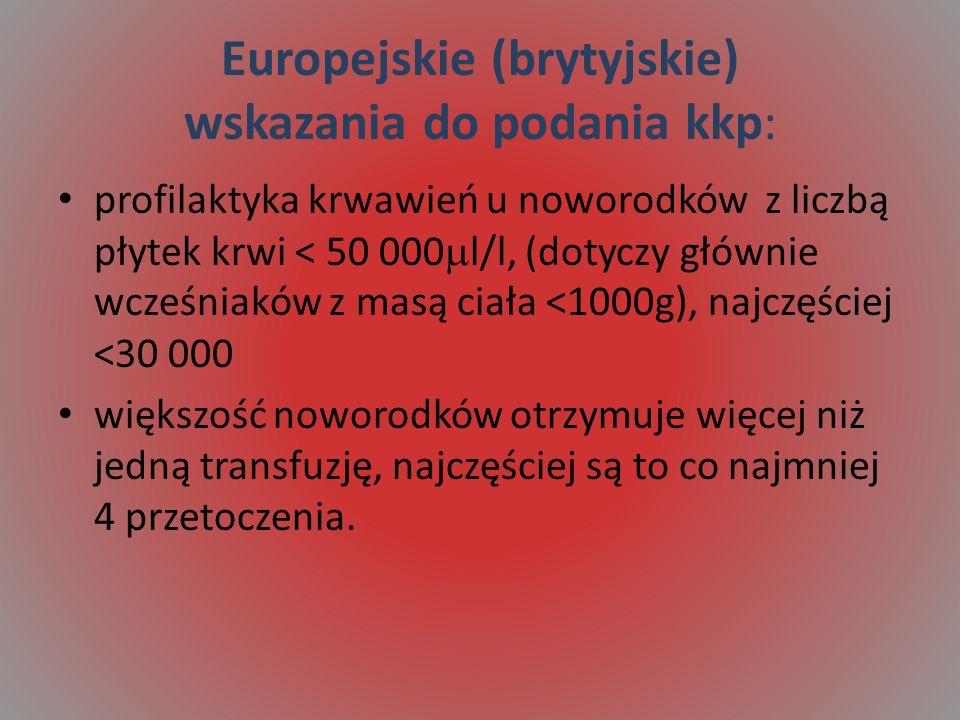 Europejskie (brytyjskie) wskazania do podania kkp: profilaktyka krwawień u noworodków z liczbą płytek krwi < 50 000 l/l, (dotyczy głównie wcześniaków z masą ciała <1000g), najczęściej <30 000 większość noworodków otrzymuje więcej niż jedną transfuzję, najczęściej są to co najmniej 4 przetoczenia.