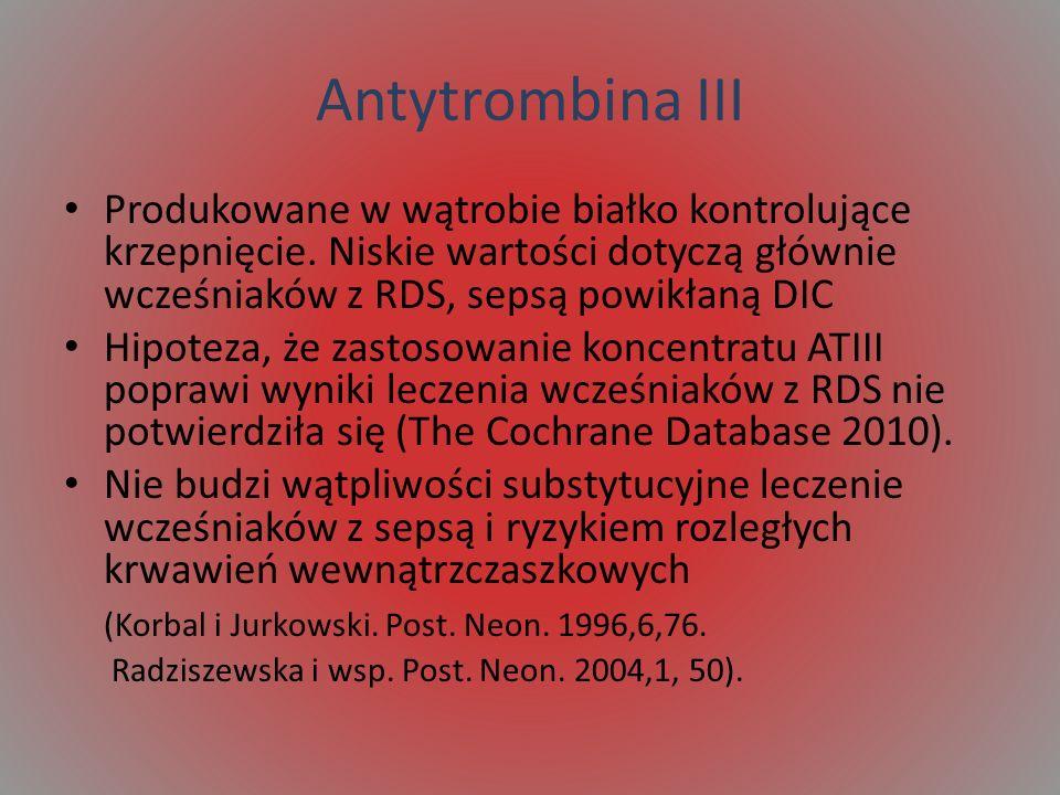 Antytrombina III Produkowane w wątrobie białko kontrolujące krzepnięcie. Niskie wartości dotyczą głównie wcześniaków z RDS, sepsą powikłaną DIC Hipote