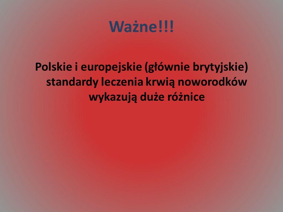 Ważne!!! Polskie i europejskie (głównie brytyjskie) standardy leczenia krwią noworodków wykazują duże różnice