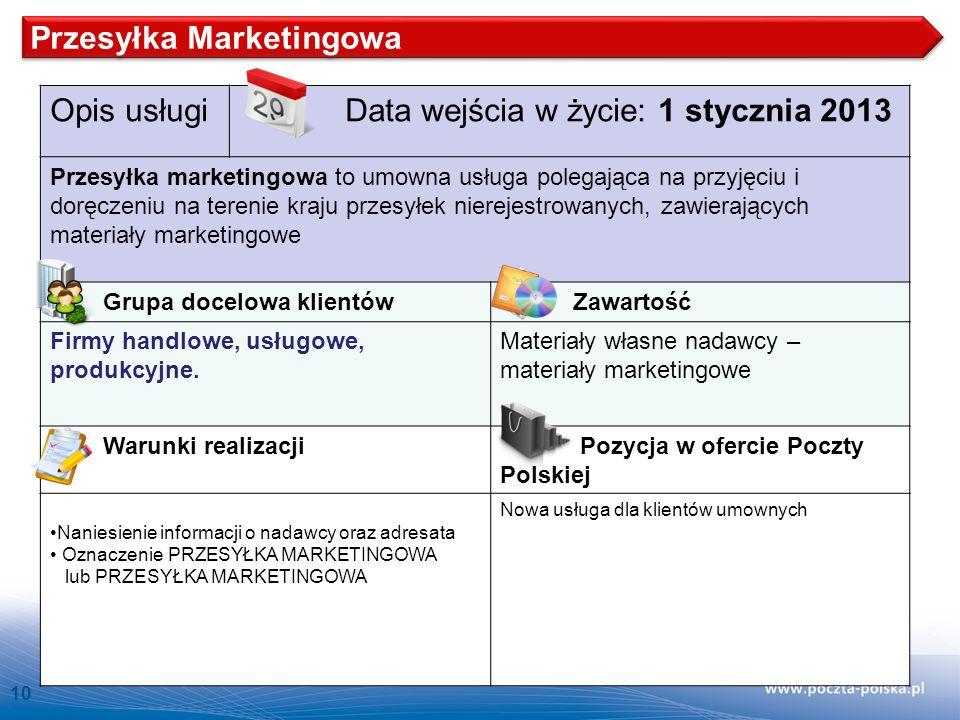 10 Opis usługi Data wejścia w życie: 1 stycznia 2013 Przesyłka marketingowa to umowna usługa polegająca na przyjęciu i doręczeniu na terenie kraju prz