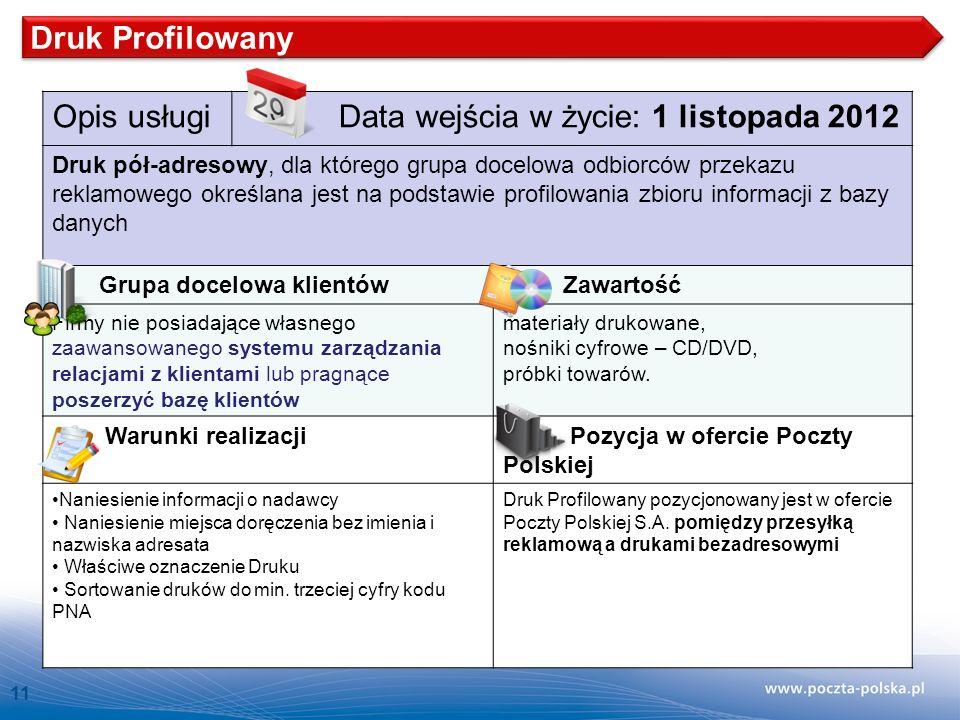 11 Opis usługi Data wejścia w życie: 1 listopada 2012 Druk pół-adresowy, dla którego grupa docelowa odbiorców przekazu reklamowego określana jest na podstawie profilowania zbioru informacji z bazy danych Grupa docelowa klientów Zawartość Firmy nie posiadające własnego zaawansowanego systemu zarządzania relacjami z klientami lub pragnące poszerzyć bazę klientów materiały drukowane, nośniki cyfrowe – CD/DVD, próbki towarów.
