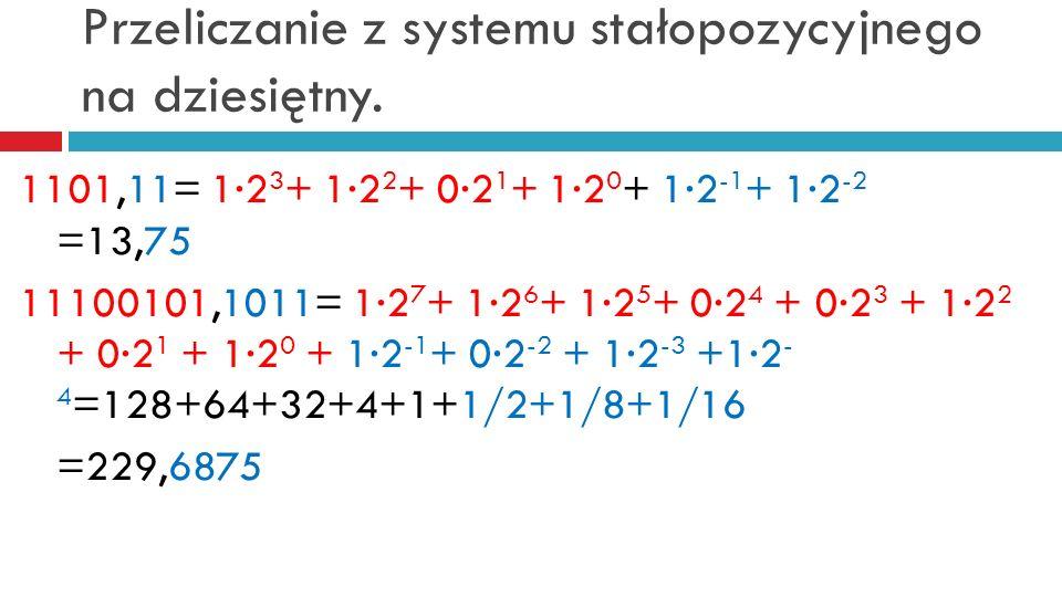 Przeliczanie z systemu stałopozycyjnego na dziesiętny. 1101,11= 12 3 + 12 2 + 02 1 + 12 0 + 12 -1 + 12 -2 =13,75 11100101,1011= 12 7 + 12 6 + 12 5 + 0