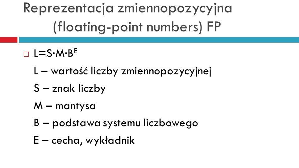 Reprezentacja zmiennopozycyjna (floating-point numbers) FP L=SMB E L – wartość liczby zmiennopozycyjnej S – znak liczby M – mantysa B – podstawa syste