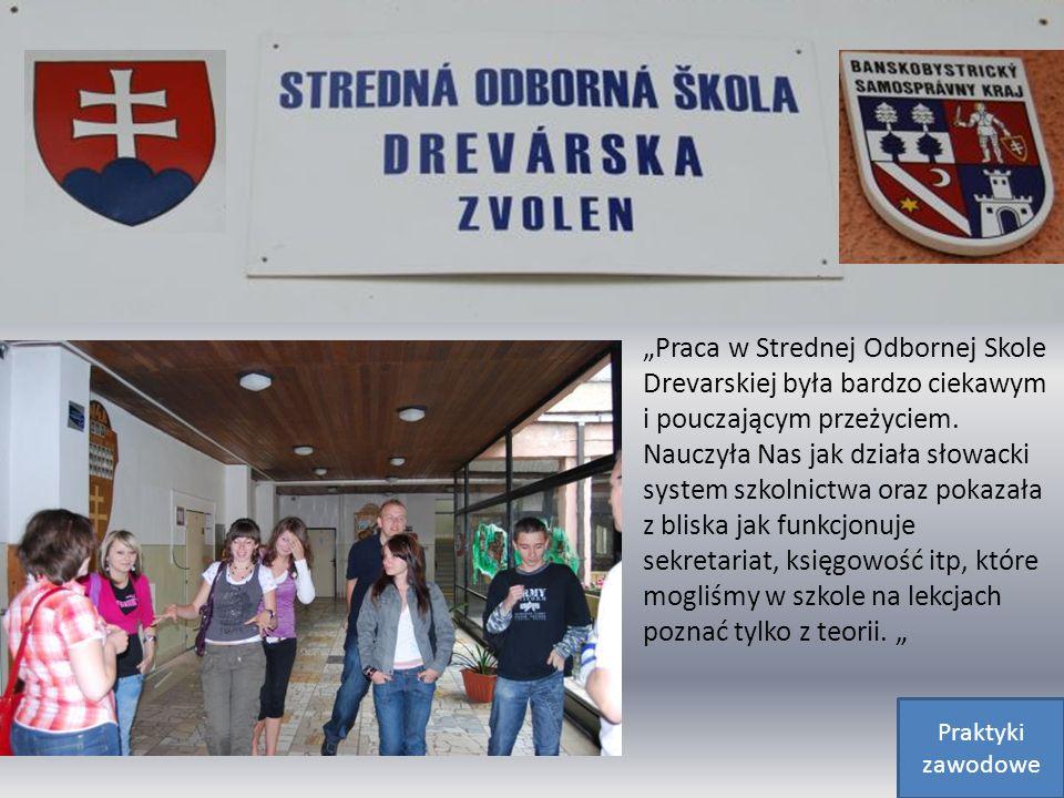Praca w Strednej Odbornej Skole Drevarskiej była bardzo ciekawym i pouczającym przeżyciem. Nauczyła Nas jak działa słowacki system szkolnictwa oraz po