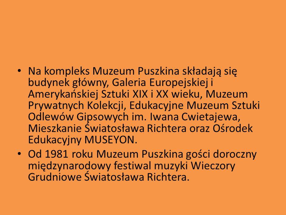Na kompleks Muzeum Puszkina składają się budynek główny, Galeria Europejskiej i Amerykańskiej Sztuki XIX i XX wieku, Muzeum Prywatnych Kolekcji, Edukacyjne Muzeum Sztuki Odlewów Gipsowych im.