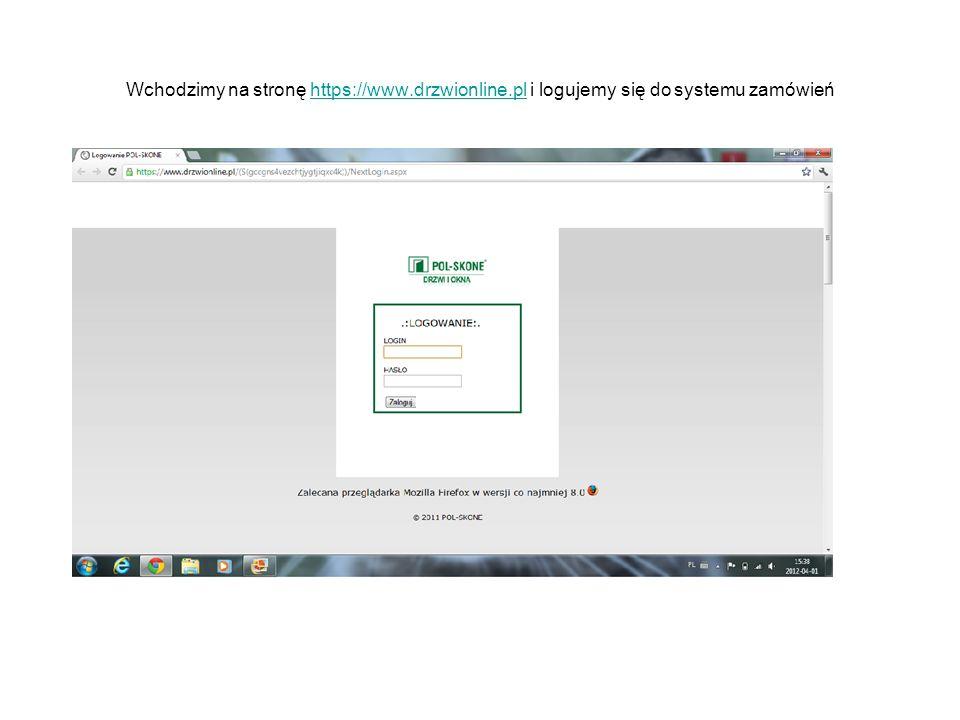 Wchodzimy na stronę https://www.drzwionline.pl i logujemy się do systemu zamówieńhttps://www.drzwionline.pl