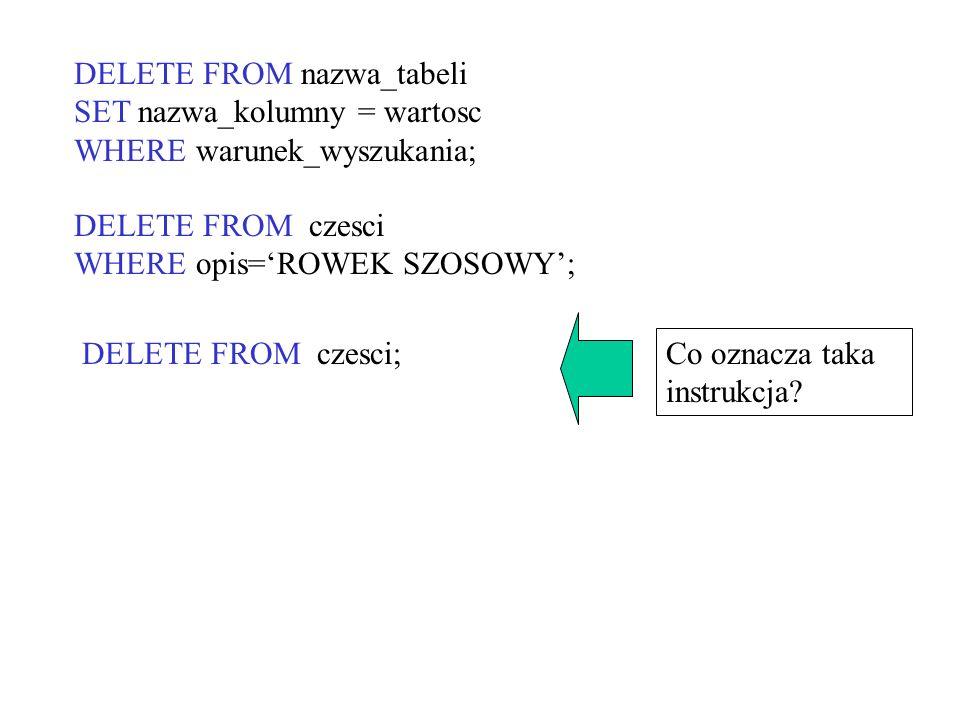 DELETE FROM nazwa_tabeli SET nazwa_kolumny = wartosc WHERE warunek_wyszukania; DELETE FROM czesci WHERE opis=ROWEK SZOSOWY; Co oznacza taka instrukcja