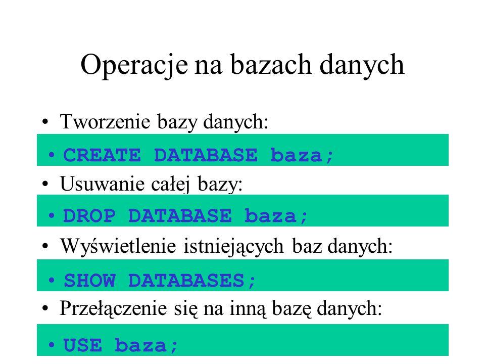 Operacje na bazach danych Tworzenie bazy danych: Usuwanie całej bazy: Wyświetlenie istniejących baz danych: Przełączenie się na inną bazę danych: CREA