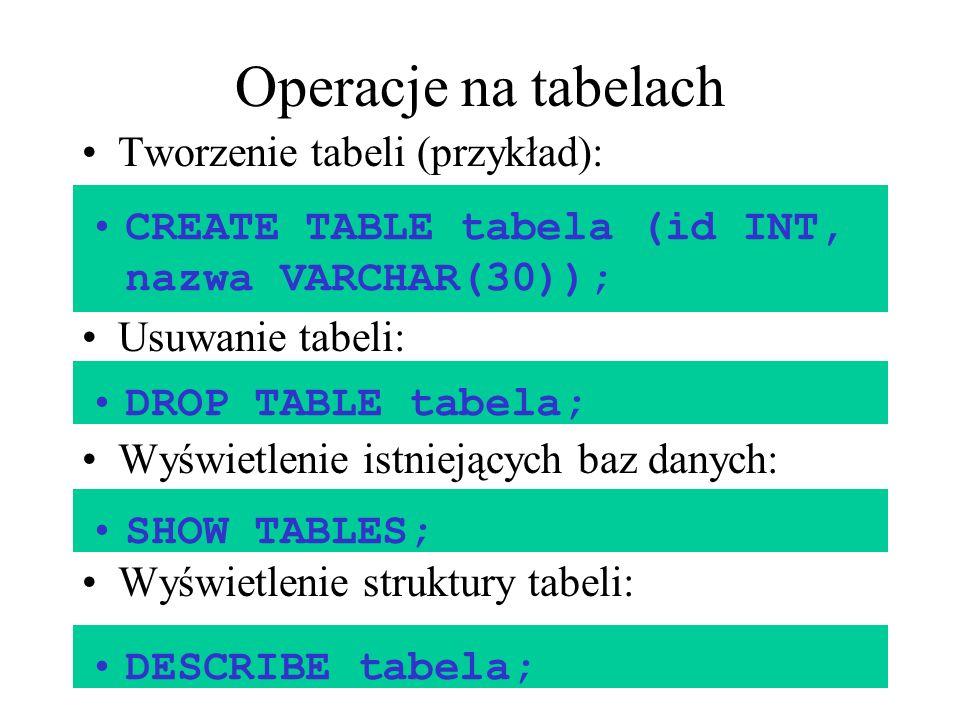 Operacje na tabelach Tworzenie tabeli (przykład): Usuwanie tabeli: Wyświetlenie istniejących baz danych: Wyświetlenie struktury tabeli: CREATE TABLE t
