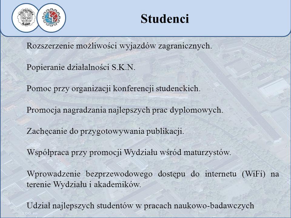 Rozszerzenie możliwości wyjazdów zagranicznych. Popieranie działalności S.K.N. Pomoc przy organizacji konferencji studenckich. Promocja nagradzania na