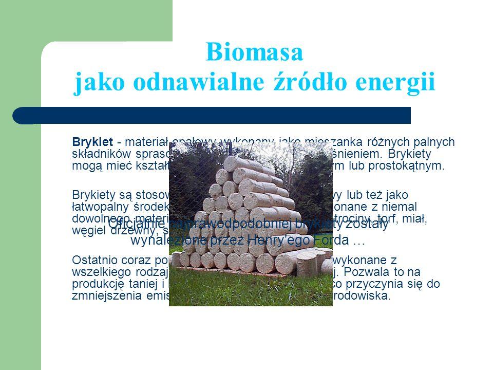 Biomasa jako odnawialne źródło energii Brykiet - materiał opałowy wykonany jako mieszanka różnych palnych składników sprasowanych pod bardzo dużym ciś
