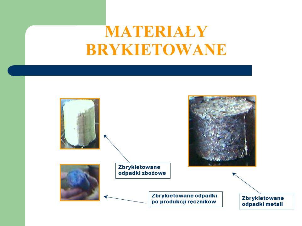 MATERIAŁY BRYKIETOWANE Zbrykietowane odpadki po produkcji ręczników Zbrykietowane odpadki metali Zbrykietowane odpadki zbożowe