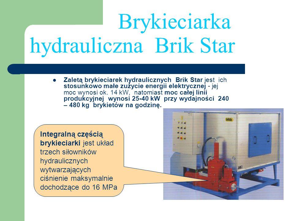 Brykieciarka hydrauliczna Brik Star Zaletą brykieciarek hydraulicznych Brik Star jest ich stosunkowo małe zużycie energii elektrycznej - jej moc wynos