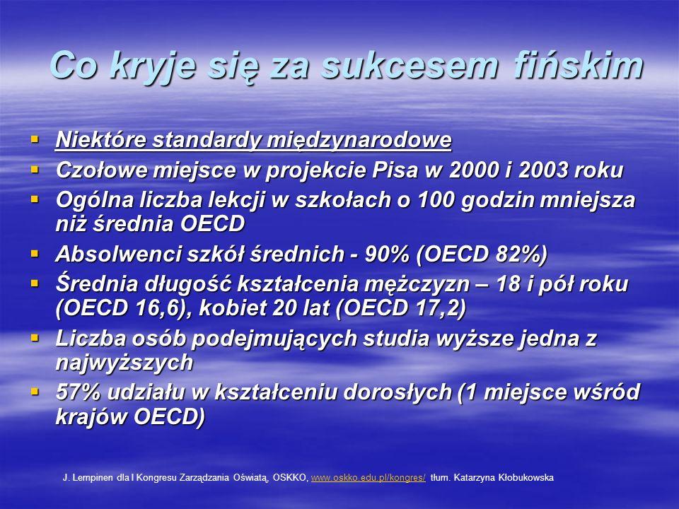 Co kryje się za sukcesem fińskim Niektóre standardy międzynarodowe Niektóre standardy międzynarodowe Czołowe miejsce w projekcie Pisa w 2000 i 2003 ro
