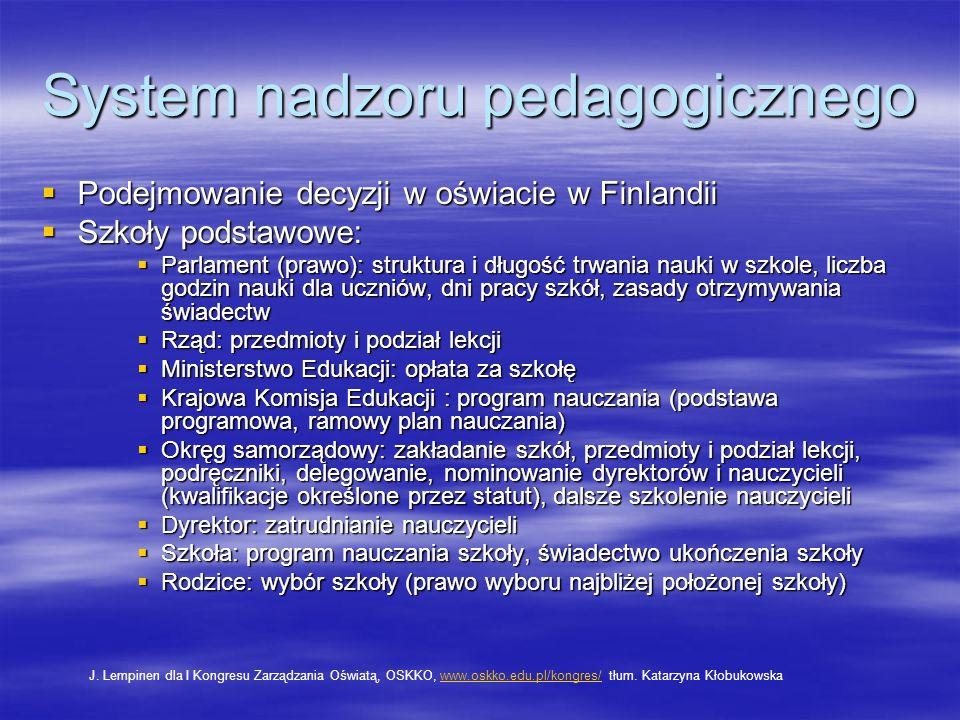 System nadzoru pedagogicznego Podejmowanie decyzji w oświacie w Finlandii Podejmowanie decyzji w oświacie w Finlandii Szkoły podstawowe: Szkoły podsta