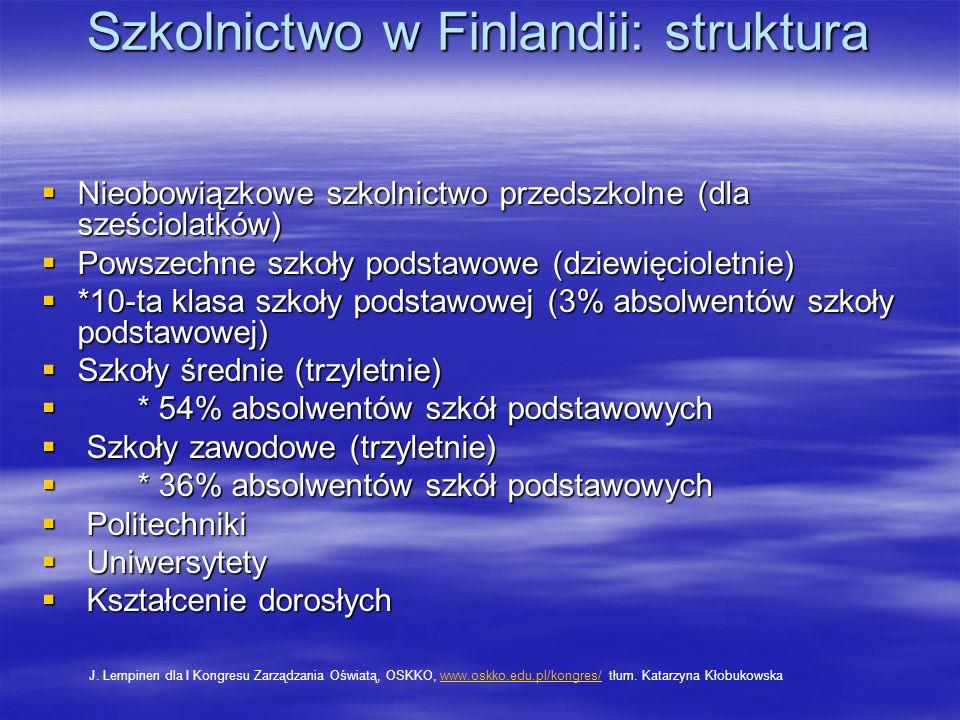 Szkolnictwo w Finlandii: struktura Nieobowiązkowe szkolnictwo przedszkolne (dla sześciolatków) Nieobowiązkowe szkolnictwo przedszkolne (dla sześciolatków) Powszechne szkoły podstawowe (dziewięcioletnie) Powszechne szkoły podstawowe (dziewięcioletnie) *10-ta klasa szkoły podstawowej (3% absolwentów szkoły podstawowej) *10-ta klasa szkoły podstawowej (3% absolwentów szkoły podstawowej) Szkoły średnie (trzyletnie) Szkoły średnie (trzyletnie) * 54% absolwentów szkół podstawowych * 54% absolwentów szkół podstawowych Szkoły zawodowe (trzyletnie) Szkoły zawodowe (trzyletnie) * 36% absolwentów szkół podstawowych * 36% absolwentów szkół podstawowych Politechniki Politechniki Uniwersytety Uniwersytety Kształcenie dorosłych Kształcenie dorosłych J.
