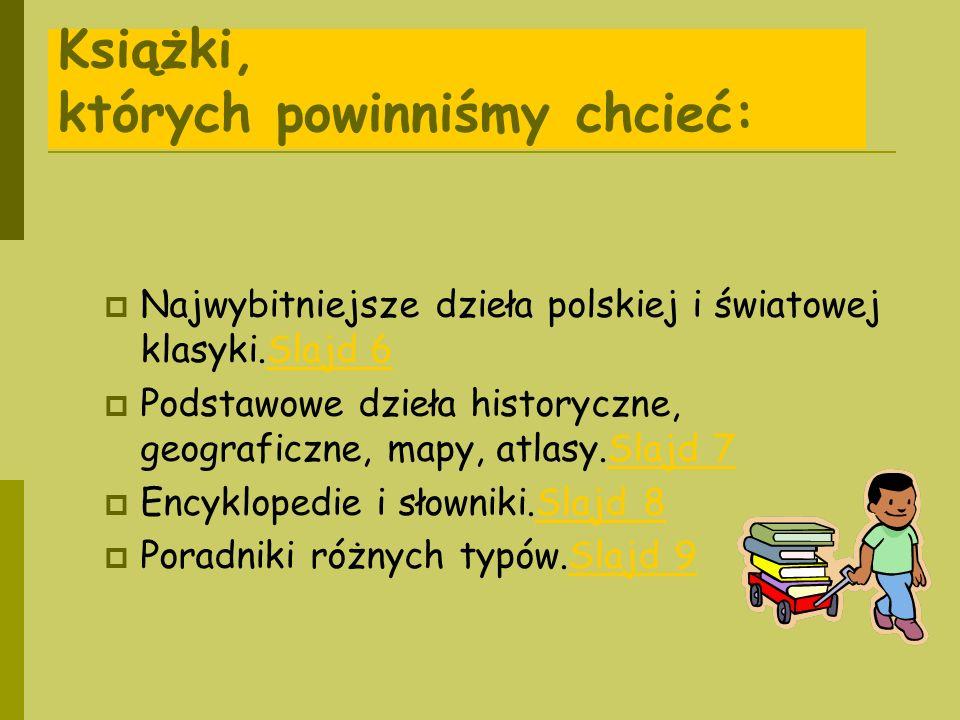 Książki, których powinniśmy chcieć: Najwybitniejsze dzieła polskiej i światowej klasyki.Slajd 6Slajd 6 Podstawowe dzieła historyczne, geograficzne, ma