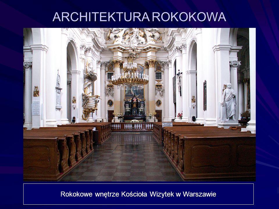 Rokokowe wnętrze Kościoła Wizytek w Warszawie ARCHITEKTURA ROKOKOWA