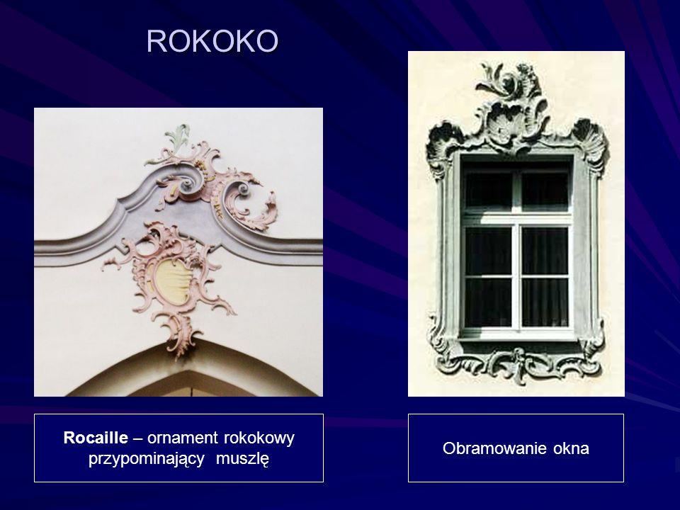 Rocaille – ornament rokokowy przypominający muszlę Obramowanie okna ROKOKO