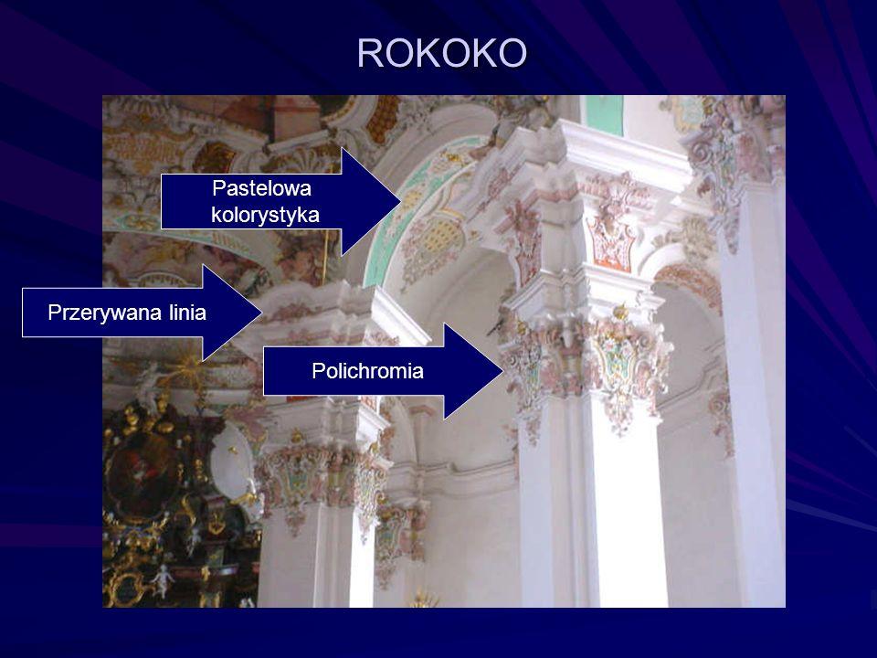 ROKOKO Pastelowa kolorystyka Przerywana linia Polichromia