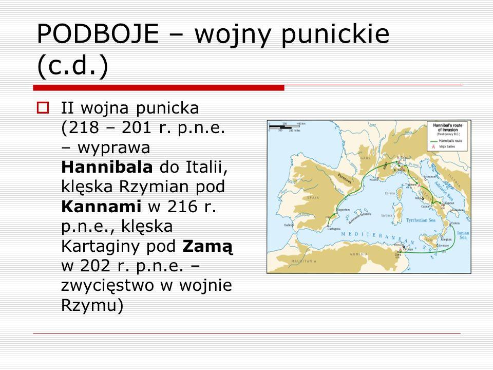 PODBOJE – wojny punickie (c.d.) II wojna punicka (218 – 201 r. p.n.e. – wyprawa Hannibala do Italii, klęska Rzymian pod Kannami w 216 r. p.n.e., klęsk