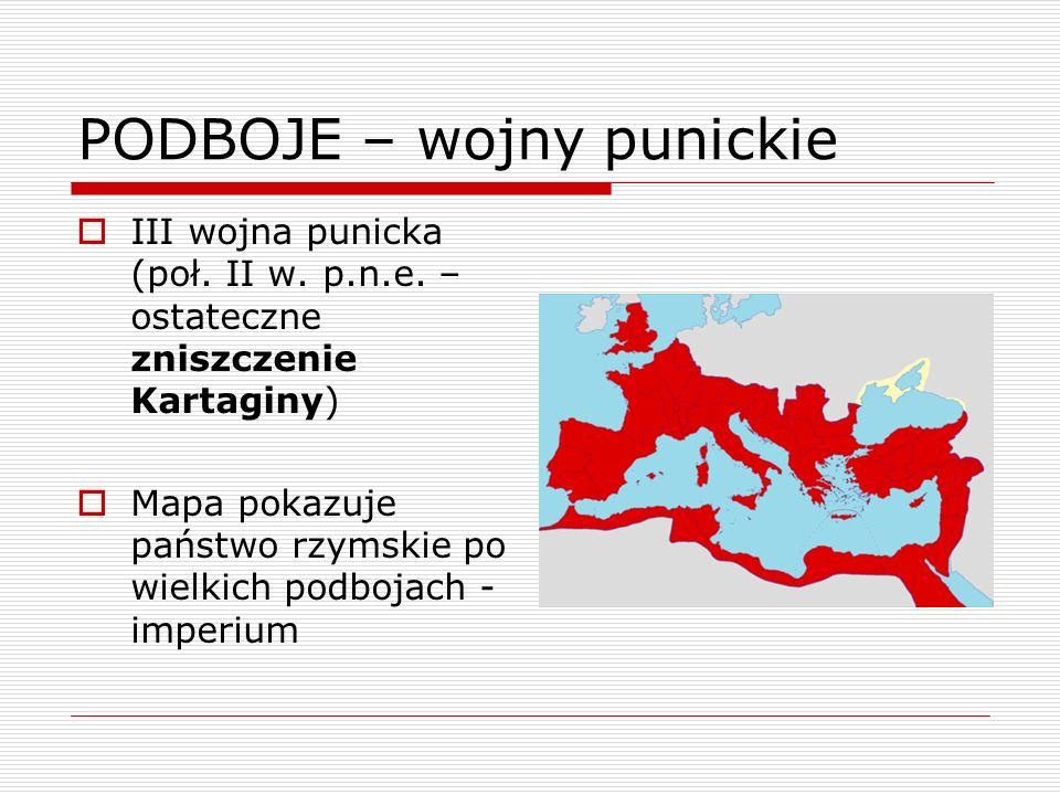 PODBOJE – wojny punickie III wojna punicka (poł. II w. p.n.e. – ostateczne zniszczenie Kartaginy) Mapa pokazuje państwo rzymskie po wielkich podbojach