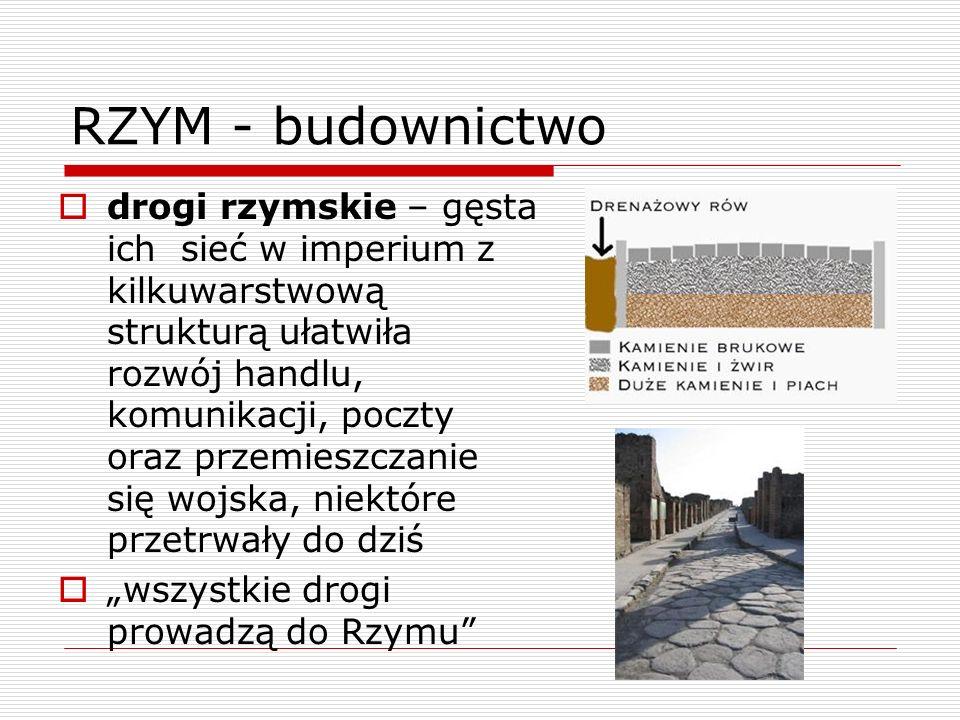 RZYM - budownictwo drogi rzymskie – gęsta ich sieć w imperium z kilkuwarstwową strukturą ułatwiła rozwój handlu, komunikacji, poczty oraz przemieszcza