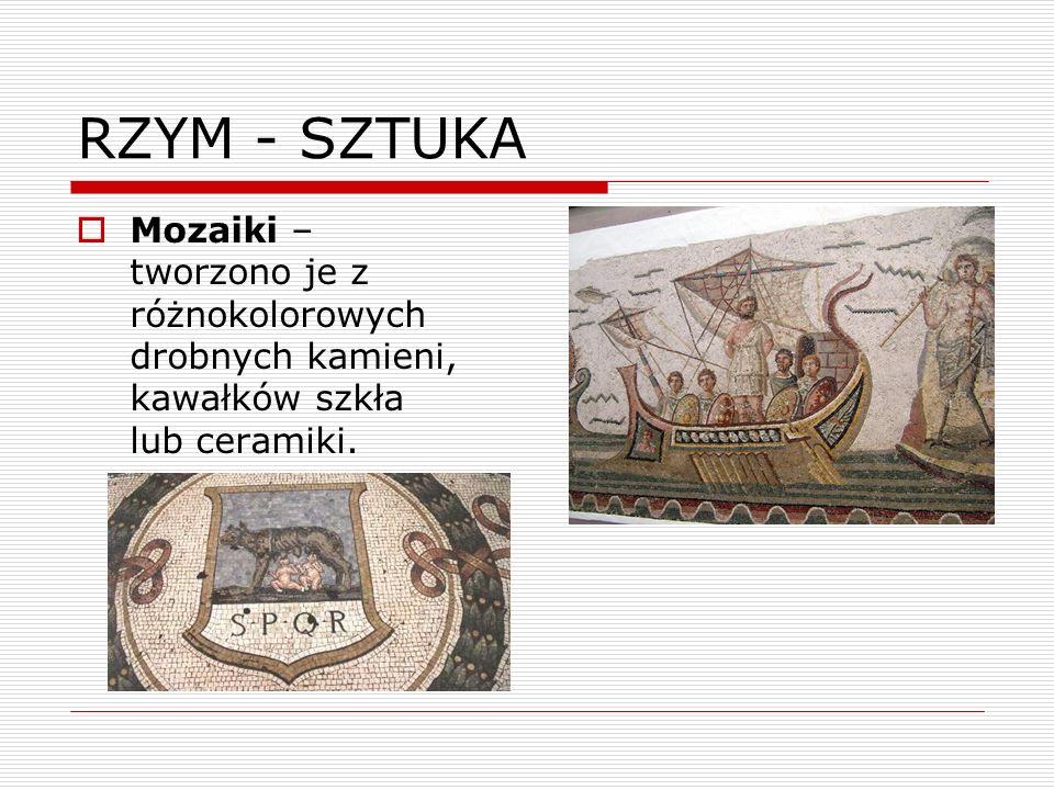 RZYM - SZTUKA Mozaiki – tworzono je z różnokolorowych drobnych kamieni, kawałków szkła lub ceramiki.