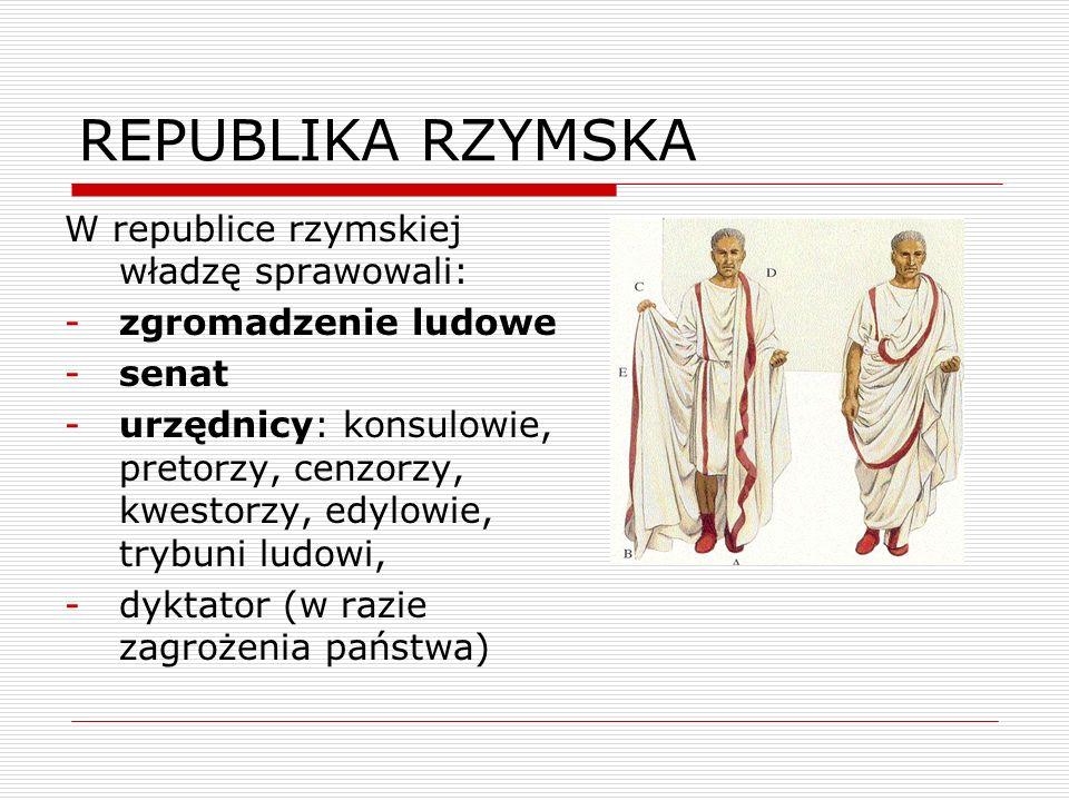 REPUBLIKA RZYMSKA W republice rzymskiej władzę sprawowali: -zgromadzenie ludowe -senat -urzędnicy: konsulowie, pretorzy, cenzorzy, kwestorzy, edylowie
