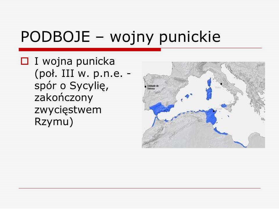 PODBOJE – wojny punickie I wojna punicka (poł. III w. p.n.e. - spór o Sycylię, zakończony zwycięstwem Rzymu)