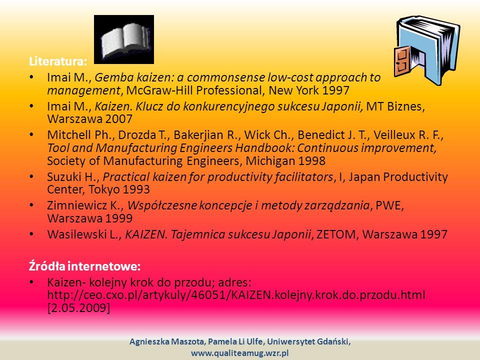 Literatura: Imai M., Gemba kaizen: a commonsense low-cost approach to management, McGraw-Hill Professional, New York 1997 Imai M., Kaizen. Klucz do ko