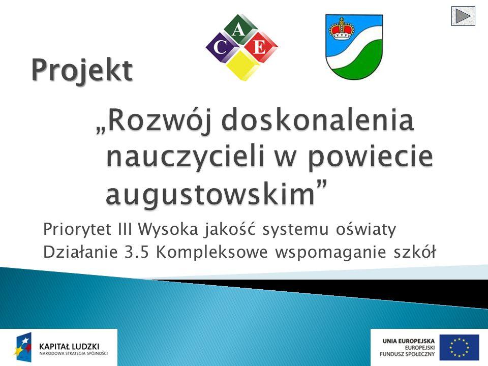 Priorytet III Wysoka jakość systemu oświaty Działanie 3.5 Kompleksowe wspomaganie szkół Projekt
