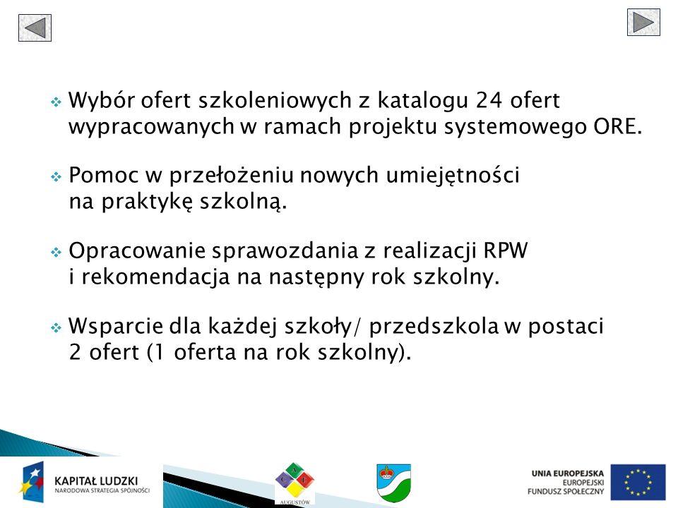 Wybór ofert szkoleniowych z katalogu 24 ofert wypracowanych w ramach projektu systemowego ORE. Pomoc w przełożeniu nowych umiejętności na praktykę szk