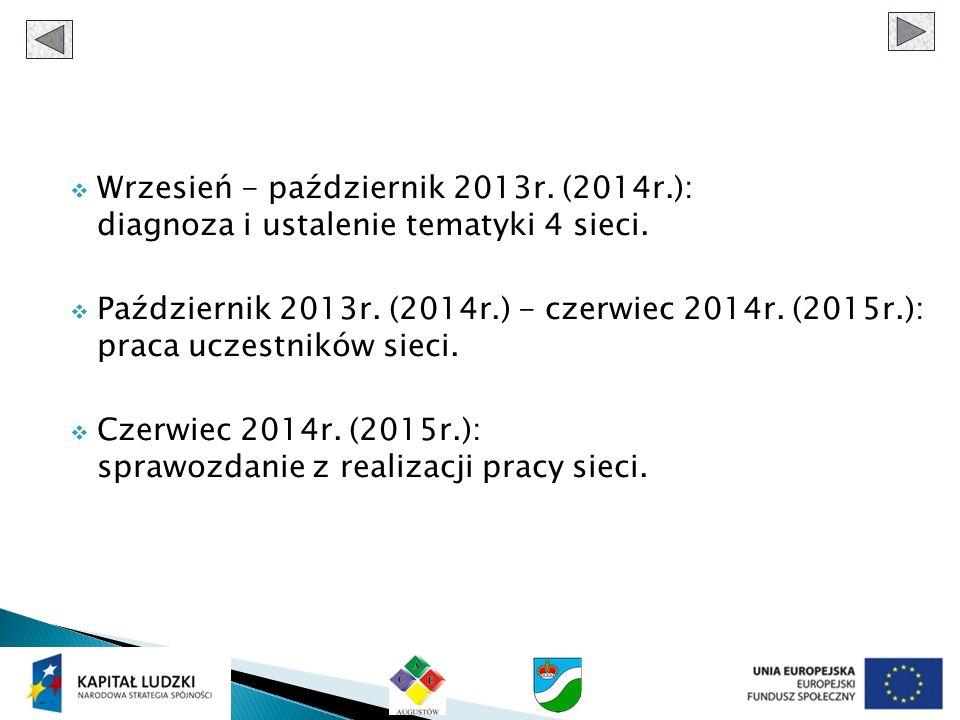 Wrzesień - październik 2013r. (2014r.): diagnoza i ustalenie tematyki 4 sieci. Październik 2013r. (2014r.) - czerwiec 2014r. (2015r.): praca uczestnik