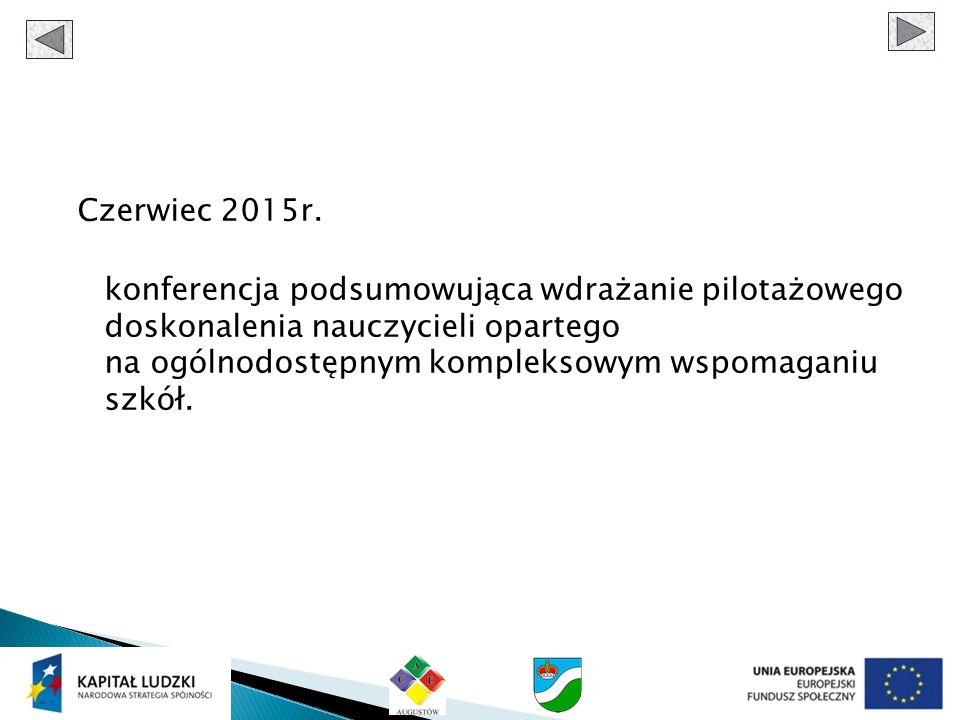 Czerwiec 2015r. konferencja podsumowująca wdrażanie pilotażowego doskonalenia nauczycieli opartego na ogólnodostępnym kompleksowym wspomaganiu szkół.