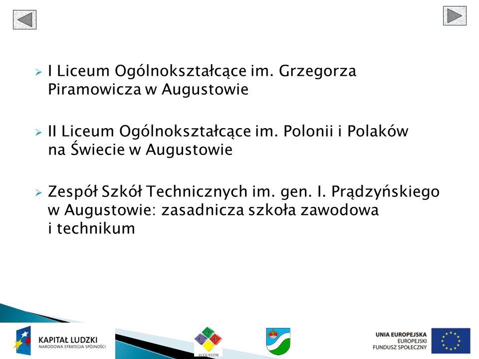 I Liceum Ogólnokształcące im. Grzegorza Piramowicza w Augustowie II Liceum Ogólnokształcące im.