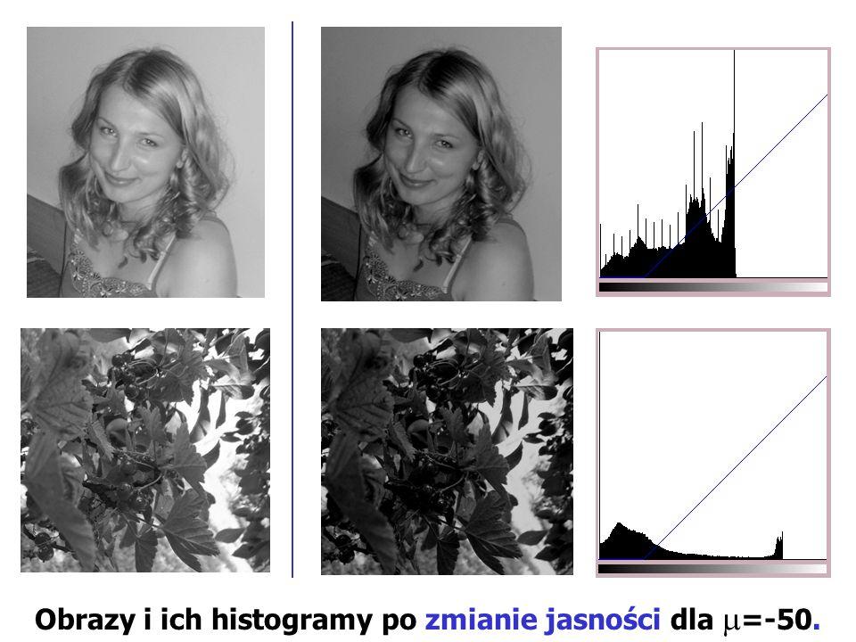 Obrazy i ich histogramy po zmianie jasności dla =-50.