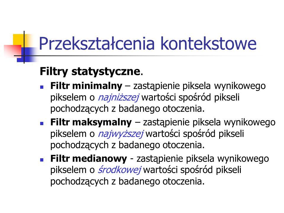 Przekształcenia kontekstowe Filtry statystyczne. Filtr minimalny – zastąpienie piksela wynikowego pikselem o najniższej wartości spośród pikseli pocho