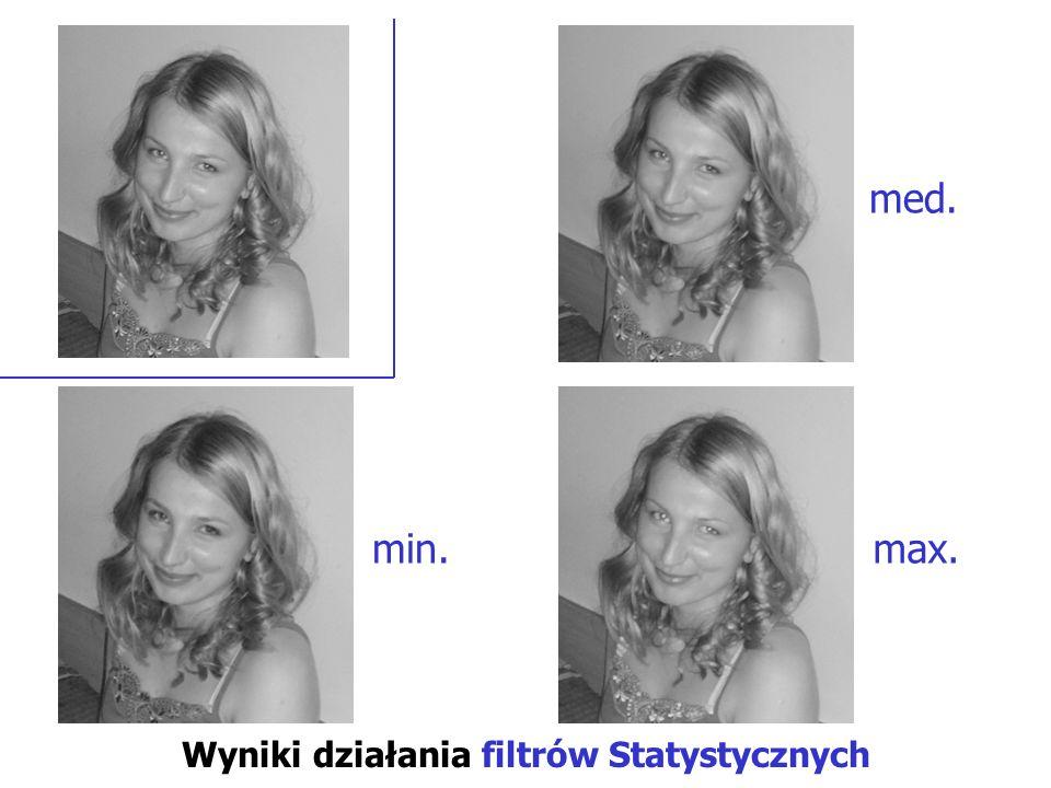 Wyniki działania filtrów Statystycznych min. med. max.