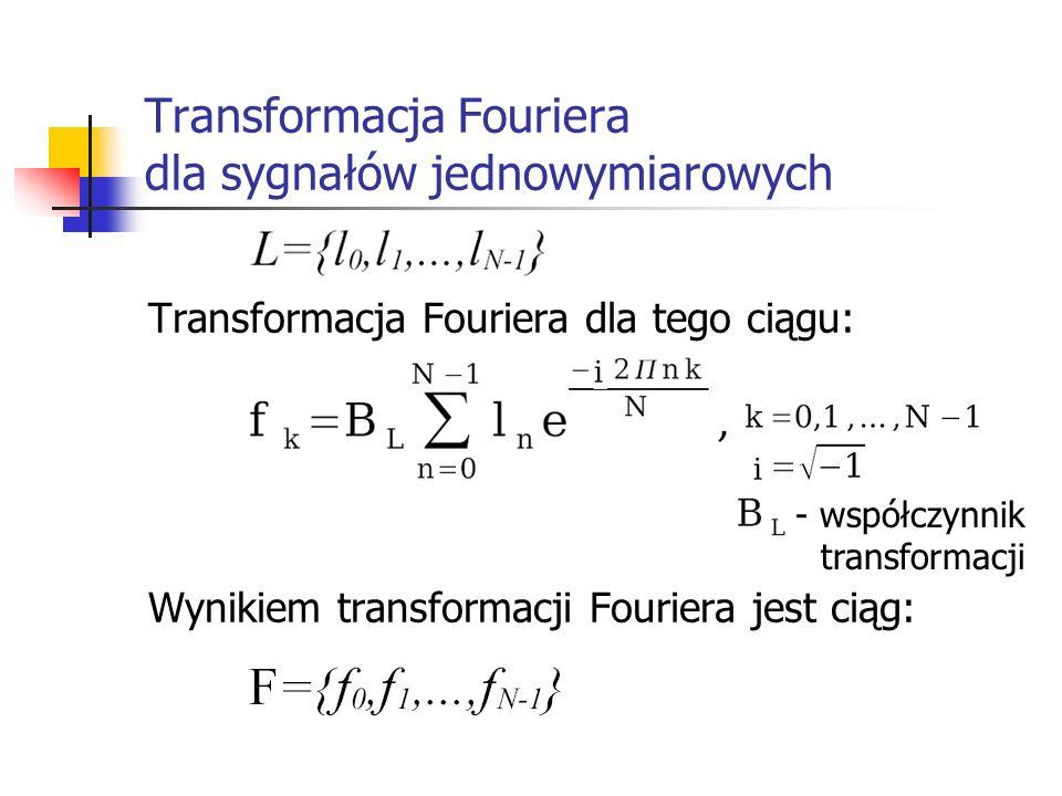 Transformacja Fouriera dla sygnałów jednowymiarowych Transformacja Fouriera dla tego ciągu: Wynikiem transformacji Fouriera jest ciąg: - współczynnik