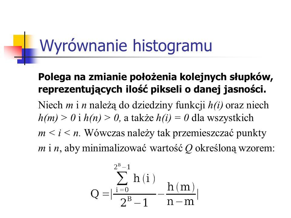 Wyrównanie histogramu Polega na zmianie położenia kolejnych słupków, reprezentujących ilość pikseli o danej jasności. Niech m i n należą do dziedziny