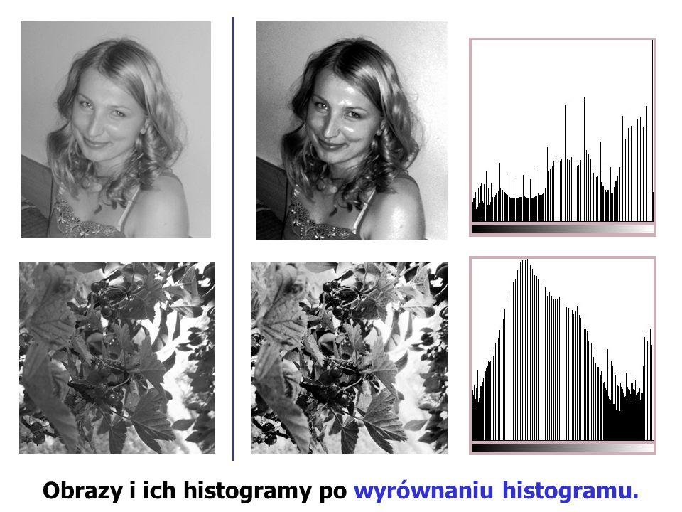 Obrazy i ich histogramy po wyrównaniu histogramu.